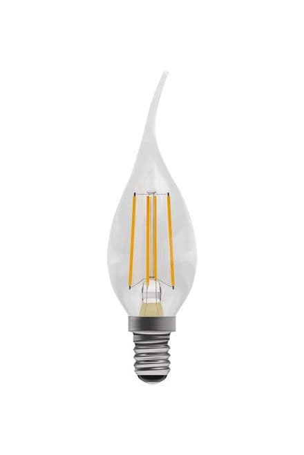 BELL 05033 4W LED Dimmable Filament Bent Tip Candle SES Clear 2700K